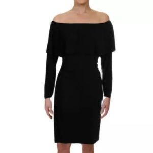 NWT Black Off Shoulder Long Sleeve Cocktail Dress
